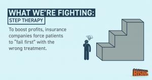 Step therapy is a common insurance barrier to access for patients with pre-existing conditions.