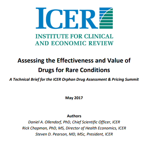 ICER Rare Disease Report: Assessing the Value of Drugs for Rare Conditions